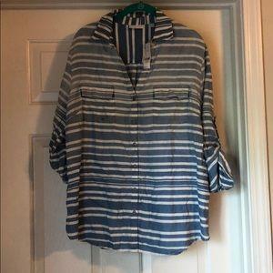 blue & white stripe roll sleeve button down shirt